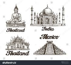 travel journey hand drawn sketch india stock vector 424581613