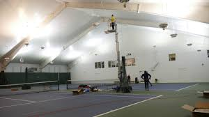 Time Lapse Led Lighting Installation On Indoor Tennis Courts Youtube