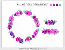 halloween wreath transparent background watercolor flowers clip art pink and purple floral wreath