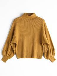 lantern sleeve mock neck sweater yellow sweaters one size zaful