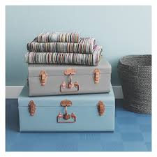 sofa bed with storage box trunk blue metal storage trunk for use with smaller grey one on