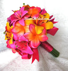 real touch fuchsia orchids pink lilies tangerine lilies and