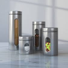 stainless steel kitchen canister wayfair basics wayfair basics 4 stainless steel kitchen