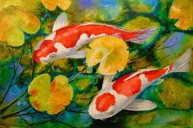 koi in a pond painting 40x60x2 cm 2017 by olha figurative art