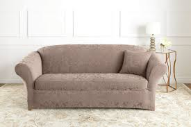 Sure Fit Stretch Jacquard Damask Box Cushion Sofa Slipcover