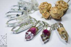 real crystal necklace images Crystal necklace crystal pendant clear crystal real flower jpg