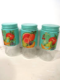 Retro Kitchen Canisters by Vintage Glass Turquoise Kitchen Storage Jars Fruit U0026 Vegetable