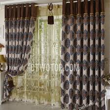 Blue And Brown Curtains Chenille Jacquard Living Room Chocolate Brown And Blue Curtains