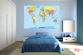 World Map Wallpaper Mural by Mural Political Map Of The World