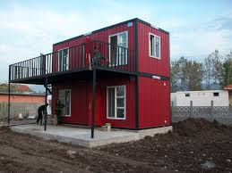 elegant red nuance of the exterior conex container homes for sale