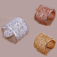 big fashion rings images Three colors mixed gold big nice heart 925 silver rings any size jpg