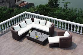 patio furniture white and dark brown rectangle modern rattan