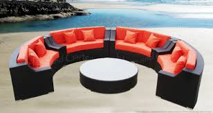 Patio Furniture Sectional Seating - cassandra round outdoor wicker dining sofa set patio furniture