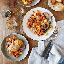 Roasted Vegetable Recipes by Mustard Glazed Chicken With Roasted Vegetables Recipe Myrecipes
