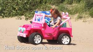 barbie power wheels power wheels barbie jammin u0027 jeep wrangler demo youtube