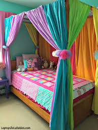 diy canopy bed with rainbow curtains heather s handmade life diy canopy bed with rainbow curtains