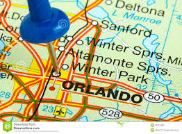 Florida Map Image by Pushpin In Orlando Florida Map Royalty Free Stock Images Image