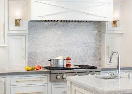 Stainless Steel Kitchen Hood With Brass Trim Transitional Kitchen - Stainless steel cooktop backsplash