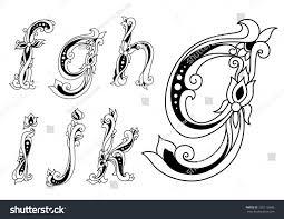 vintage floral ornamental letters font lowercase stock vector