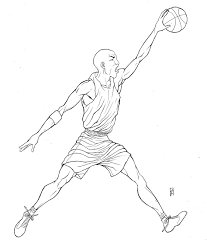 michael jordan coloring page line drawings 2220