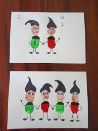 homemade christmas cards using fingerprints elves kids crafts