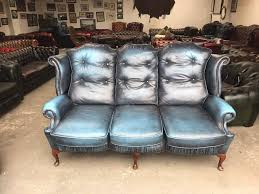 Uk Chesterfield Sofa by Fantastic Blue Leather Chesterfield Highback Queen Anne