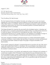 Business Apology Letter by Armenian Society U0027s Letter To Secretary General Of The United