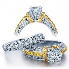 designer wedding rings 2 carat princess designer wedding ring set in white gold for
