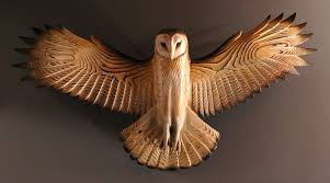barn owl wood sculpture wall jason tennant