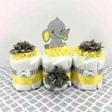 Diaper Cake Centerpieces by Yellow And Gray Baby Elephant Diaper Cake Centerpiece Chic Baby