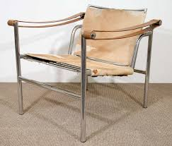 Outdoor Sling Chairs Mid Century Le Corbusier Sling Chair In Hide At 1stdibs