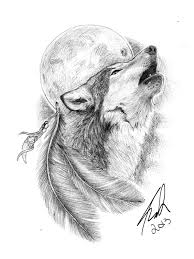 delectable black and white wolf howling on moon design