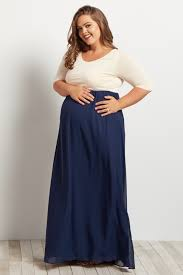 navy maxi dress navy blue chiffon colorblock plus size maxi dress