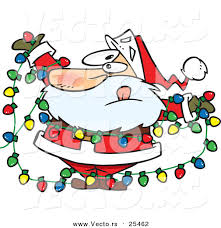 cartoon vector of a santa tangled in colorful christmas lights by