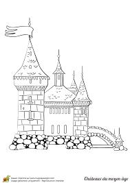 coloriage d u0027un château du moyen âge simple et facile à colorier