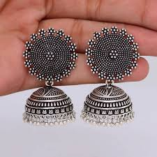 jhumka earrings buy oxidised silver plating handmade jhumka earrings online