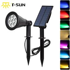 color changing outdoor lights t sunrise 7 led solar spotlight with solar panel auto color changing