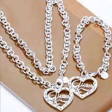 silver necklace bracelet set images Guess jewelry new 925 silver necklace bracelet set poshmark jpg