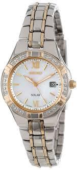 gold ladies bracelet watches images Seiko women 39 s sut068 dress solar classic diamond jpg