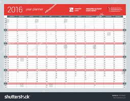 yearly wall calendar planner template 2016 stock vector 327479432