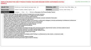 Fitness Resume Sample by Islamic Studies Teacher Resumes Samples