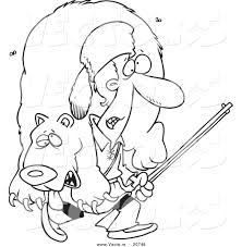 vector of a cartoon frontiersman carrying a bear coloring page