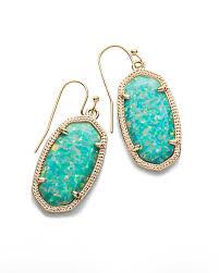 turquoise opal dani gold drop earrings in aqua kyocera opal kendra scott
