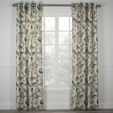 Floral Lined Curtains Brissac Jacobean Floral Print Lined Grommet Top Panel Window