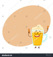 funny beer cartoon funny beer glass mug character smiling stock vector 693699424