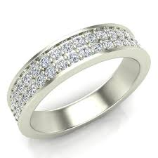 mens diamond wedding ring men s diamond wedding band 0 75 ctw two row half way men s 14k