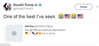 Donald Meme - donald trump jr re tweeted video of trump blowing up cnn daily