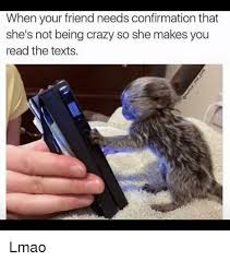 Crazy Friends Meme - when your friend needs confirmation that she s not being crazy so