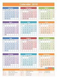 2018 Calendar with Holidays Printable Yearly Calendar Template Orange