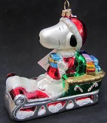 snoopy santa sleigh polonaise ornament snowbound snoopy peanuts